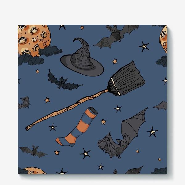 Холст «Паттерн с символами Хэллоуина на ночном небе»