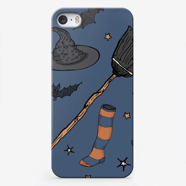Чехол iPhone «Паттерн с символами Хэллоуина на ночном небе»
