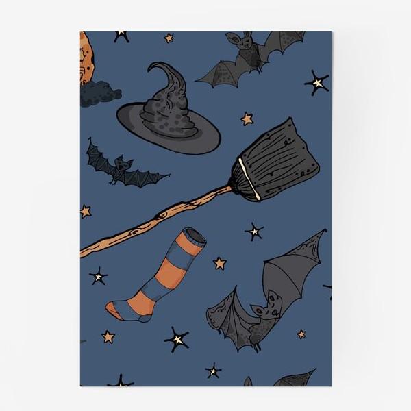 Постер «Паттерн с символами Хэллоуина на ночном небе»