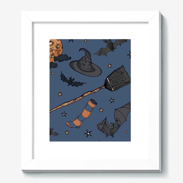 Картина «Паттерн с символами Хэллоуина на ночном небе»