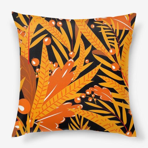 Подушка «осенние листья и ягоды»