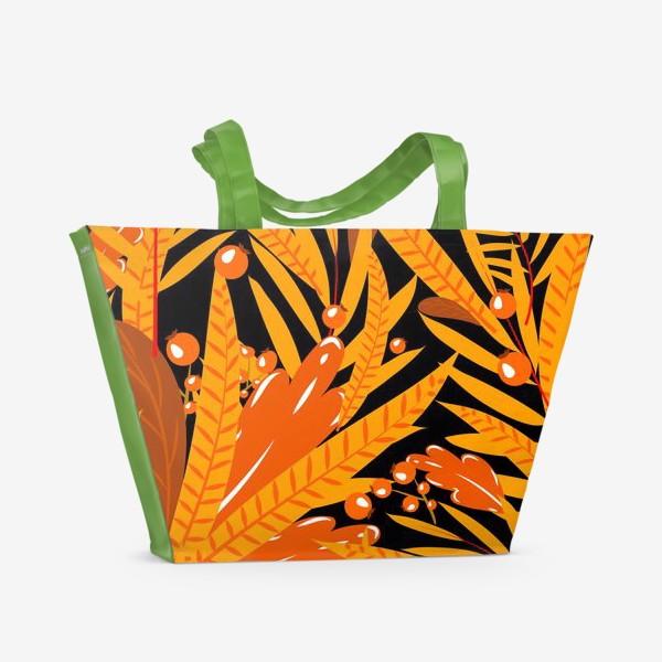 Пляжная сумка «осенние листья и ягоды»