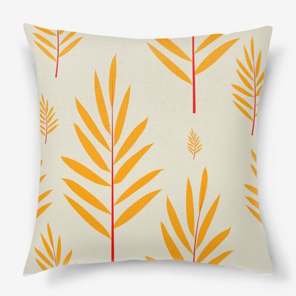 Подушка «тропические листья,перья»
