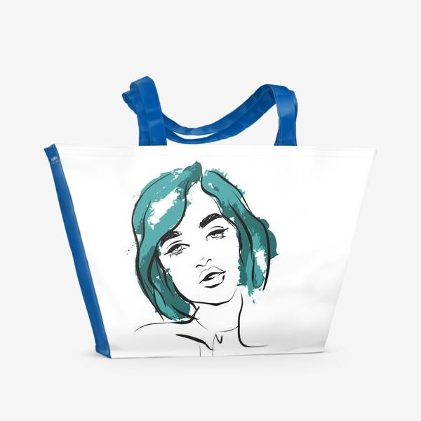 Пляжная сумка «Ocean | Color hair | Fashion cкетч»