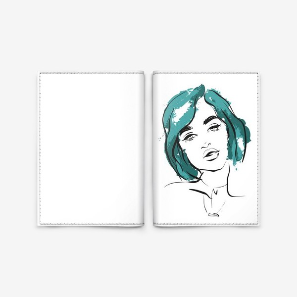 Обложка для паспорта «Ocean   Color hair   Fashion cкетч»