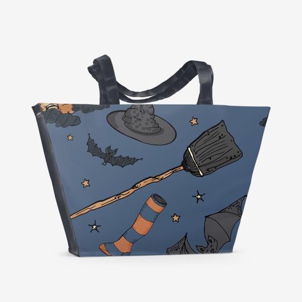 Пляжная сумка «Паттерн с символами Хэллоуина на ночном небе»