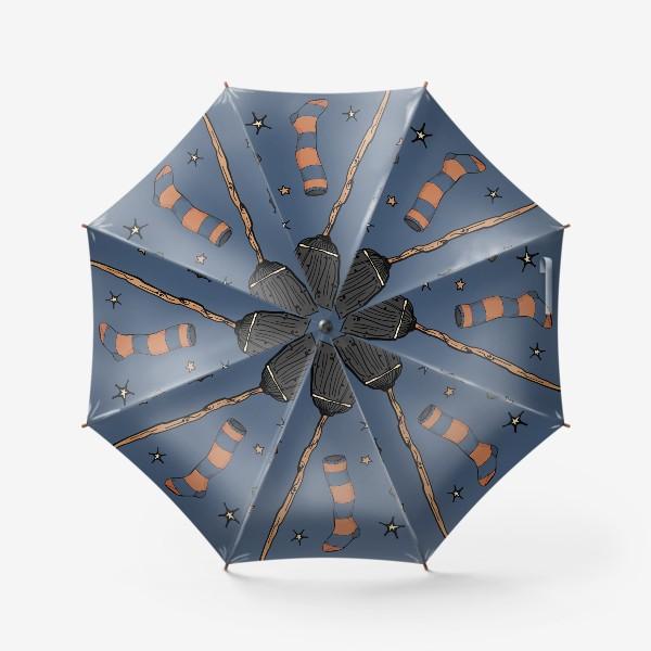 Зонт «Паттерн с символами Хэллоуина на ночном небе»