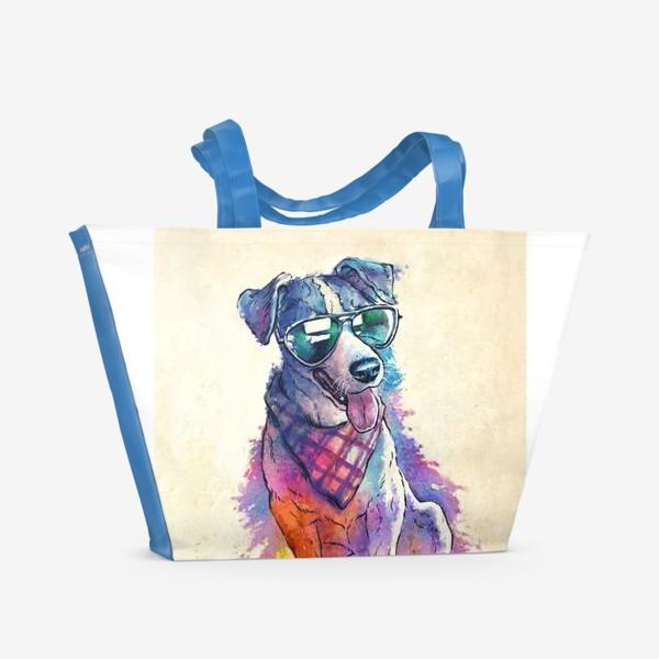 Пляжная сумка «Акварельный пес»