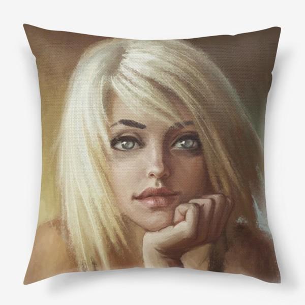Подушка «Влюбленная девушка блондинка»