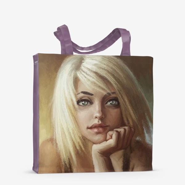 Сумка-шоппер «Влюбленная девушка блондинка»