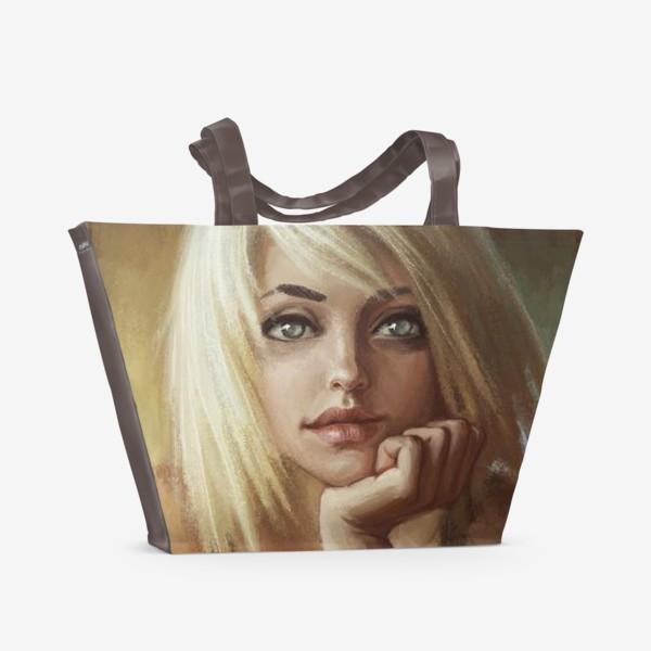 Пляжная сумка «Влюбленная девушка блондинка»
