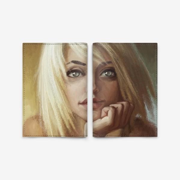 Обложка для паспорта «Влюбленная девушка блондинка»