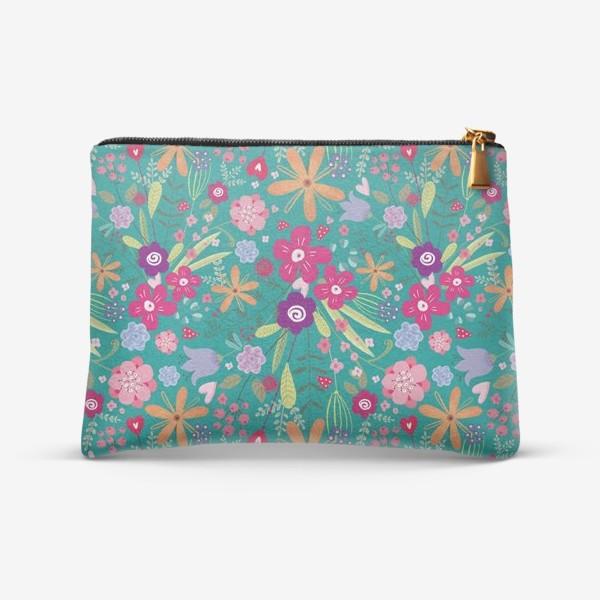 Косметичка «милый цветочный узор с разноцветными маргаритками на бирюзовом фоне»