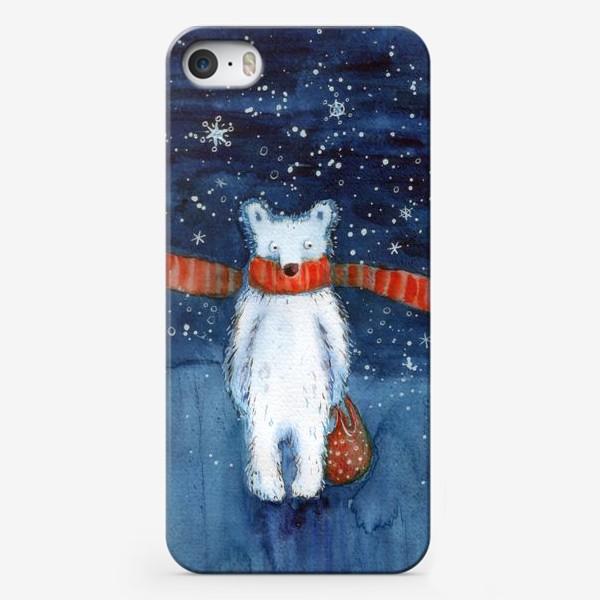 Чехол iPhone «Белый медведь в красном шарфе. Зима. Акварель.»