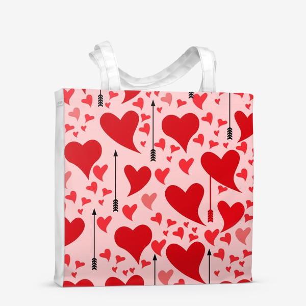 Сумка-шоппер «Много красных сердец на нежно - розовом фоне»