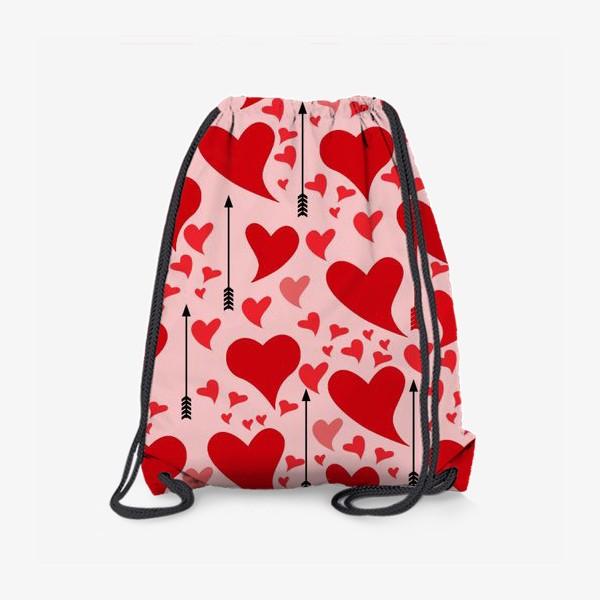 Рюкзак «Много красных сердец на нежно - розовом фоне»