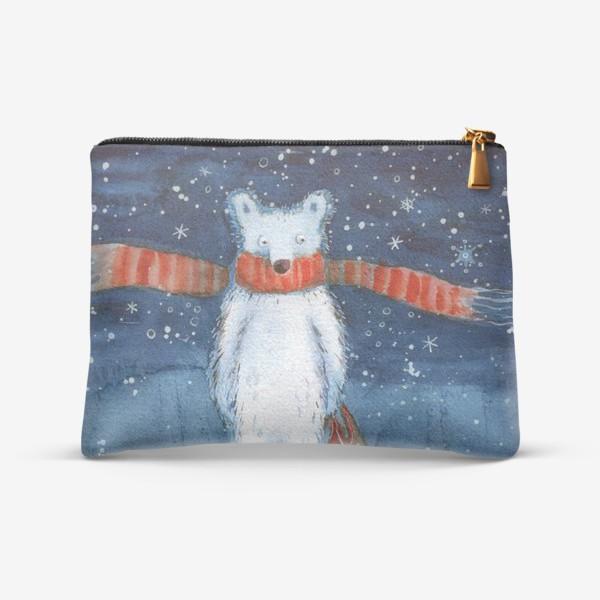Косметичка «Белый медведь в красном шарфе. Зима. Акварель.»