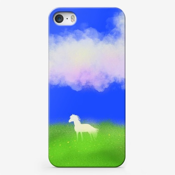Чехол iPhone «Белая лошадь в поле»
