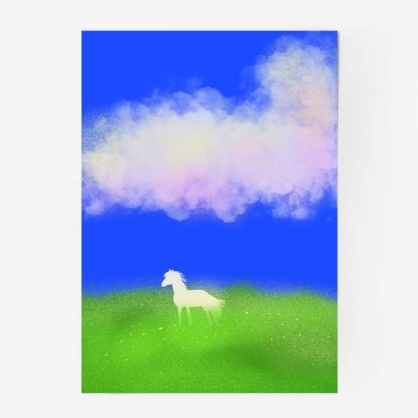 Постер «Белая лошадь в поле»