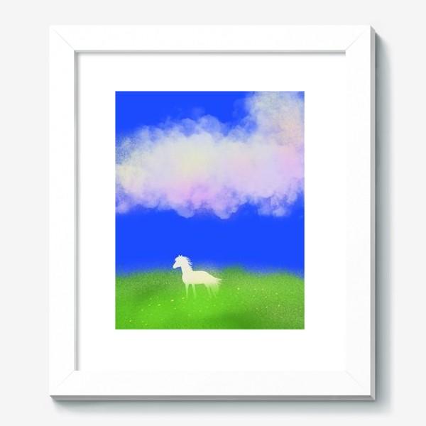 Картина «Белая лошадь в поле»