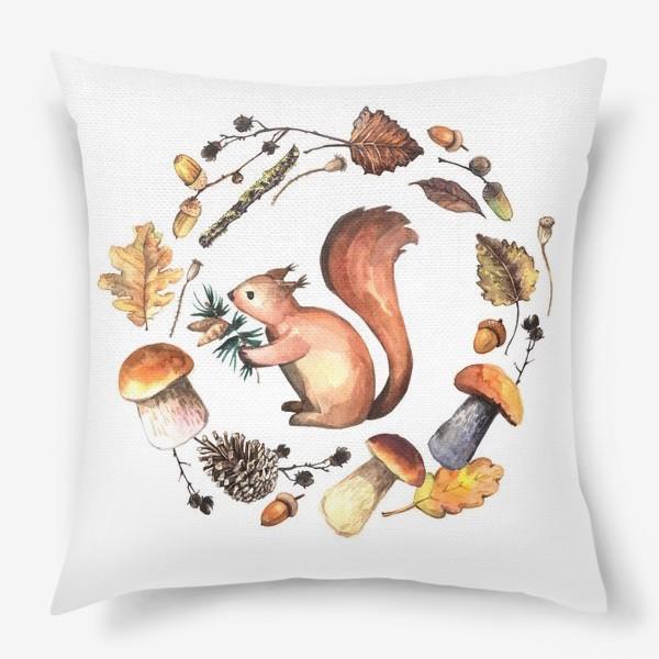 Подушка «Белочка в осеннем лесу»