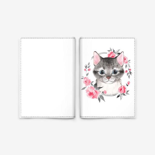 Обложка для паспорта «Котенок в цветах. Акварель»