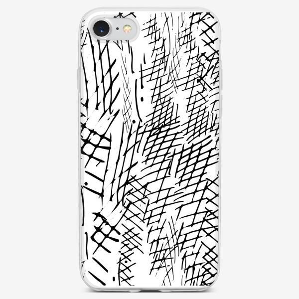 Чехол iPhone «чёрно-белые штриховка»