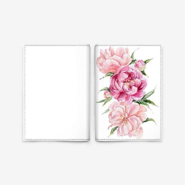Обложка для паспорта «Розовые акварельные пионы»