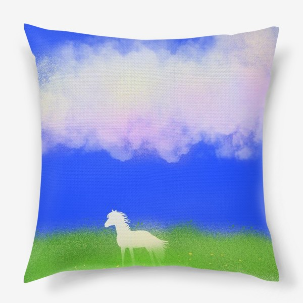 Подушка «Белая лошадь в поле»