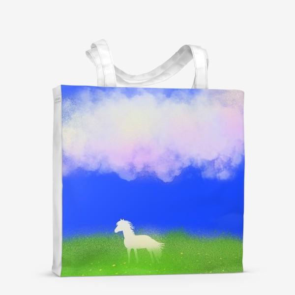 Сумка-шоппер «Белая лошадь в поле»