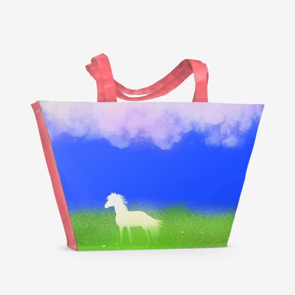 Пляжная сумка «Белая лошадь в поле»
