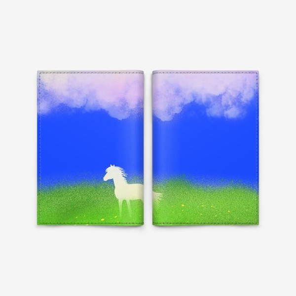 Обложка для паспорта «Белая лошадь в поле»