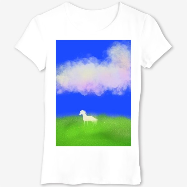 Футболка «Белая лошадь в поле»
