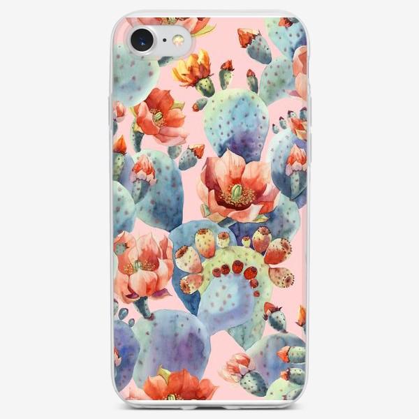Чехол iPhone «Цветущие кактусы на розовом фоне»