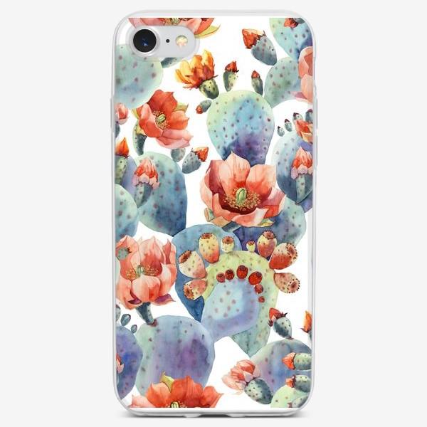 Чехол iPhone «Цветущие кактусы на белом фоне»