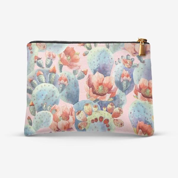 Косметичка «Цветущие кактусы на розовом фоне»