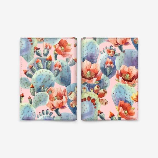 Обложка для паспорта «Цветущие кактусы на розовом фоне»