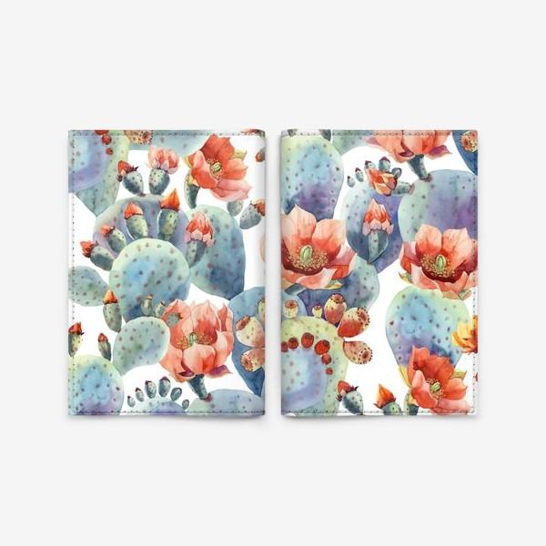 Обложка для паспорта «Цветущие кактусы на белом фоне»