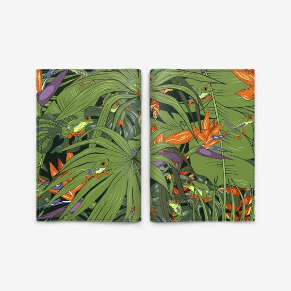 Обложка для паспорта «лягушки в тропиках»