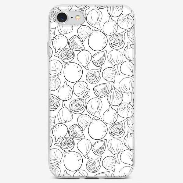 Чехол iPhone «Инжир линиями на белом фоне»