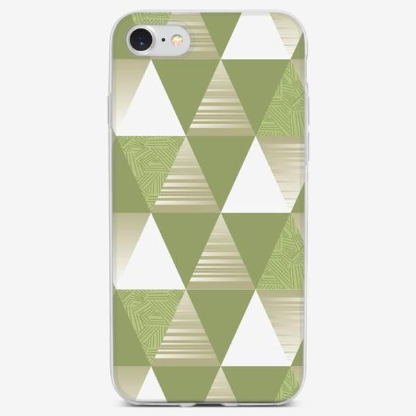 Чехол iPhone «треугольники узор зеленые»
