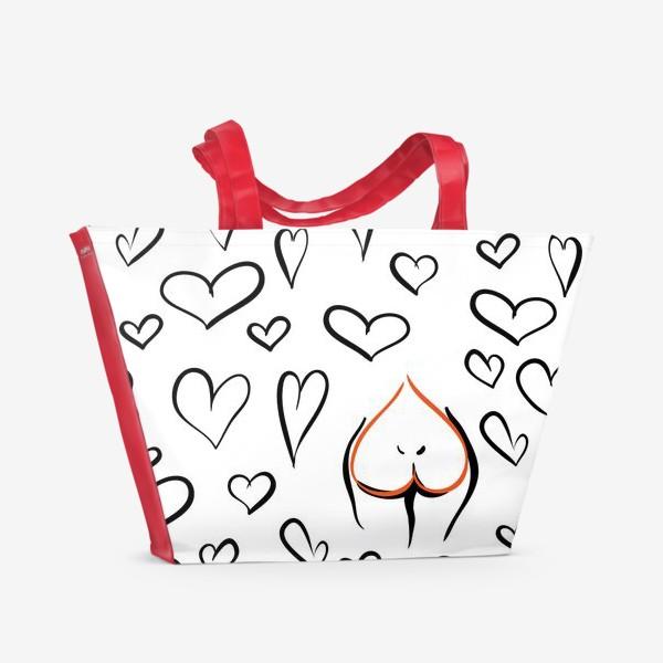 Пляжная сумка «Different | Сердца паттерн»