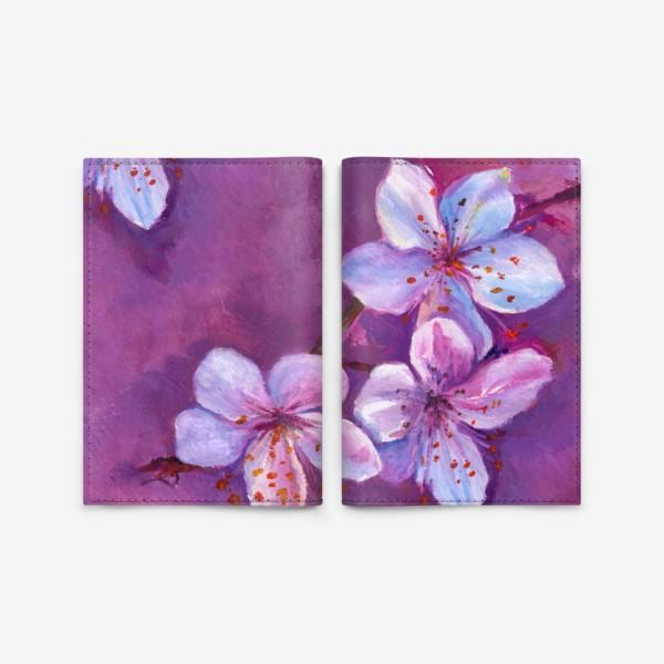 Обложка для паспорта «цветы на живописном фоне»