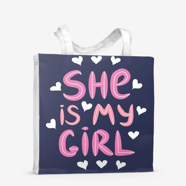 """Сумка-шоппер «Леттеринг """"Моя девочка"""" в сердечках на темном фоне»"""