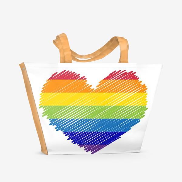 Пляжная сумка «Радужное сердечко, радость»