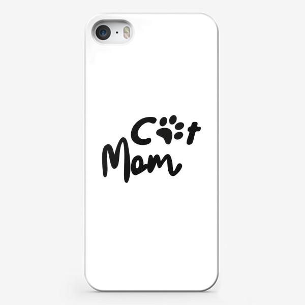 """Чехол iPhone «Леттеринг """"Cat mom""""»"""