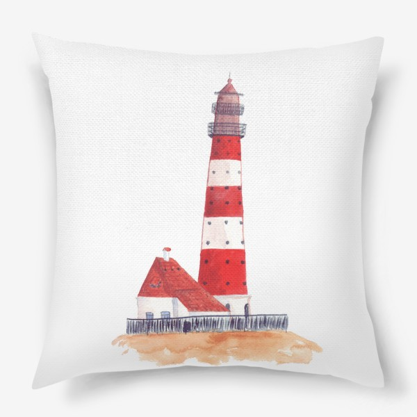 Подушка «Красно-белый полосатый маяк с пристройкой домом»
