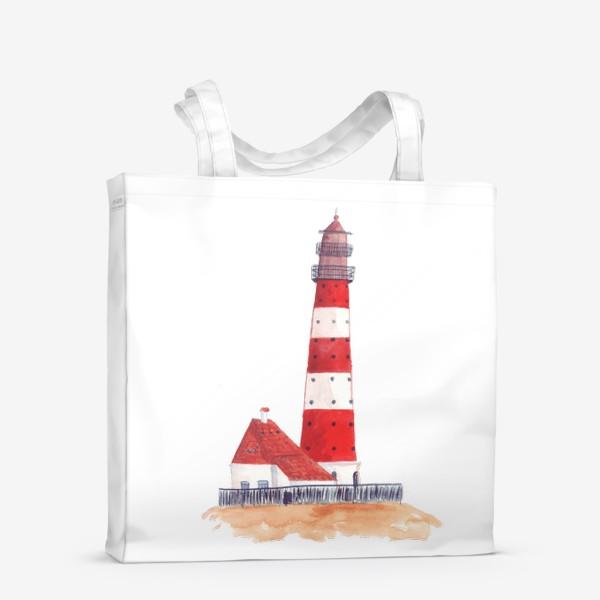 Сумка-шоппер «Красно-белый полосатый маяк с пристройкой домом»