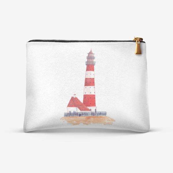 Косметичка «Красно-белый полосатый маяк с пристройкой домом»