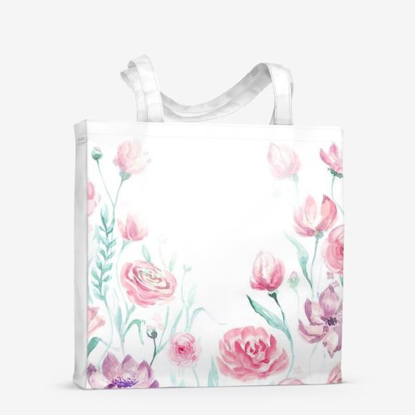 Сумка-шоппер «цветы акварель»